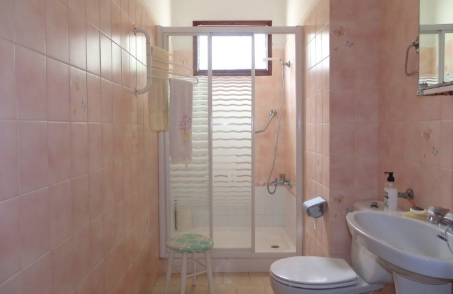 Bathroom with large shower and toilet
