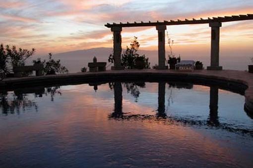 The pool in romantic evening light