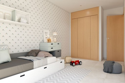 Kids bedroom with built in wardrobe