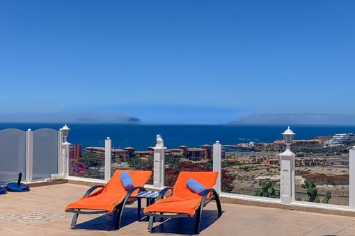 Inviting sun loungers on the terrace