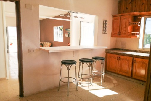 Kitchen with view to the living area