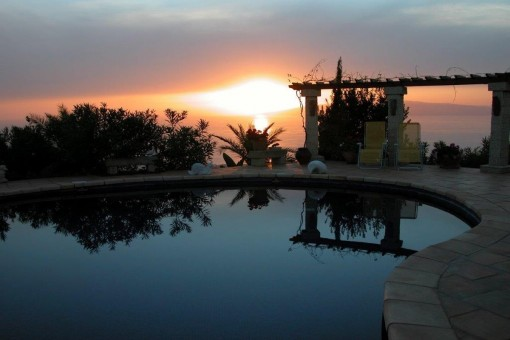 The pool at sunset