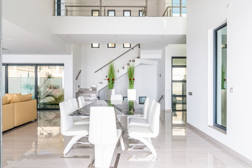 Open living and dining area