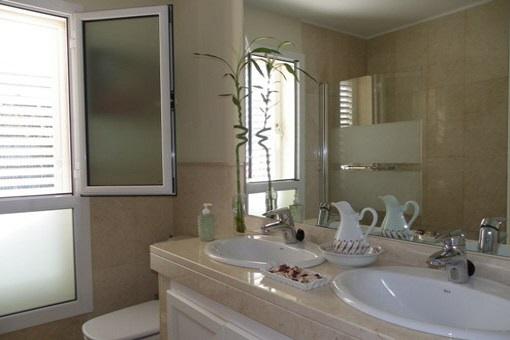 Elegant bathroom with power shower