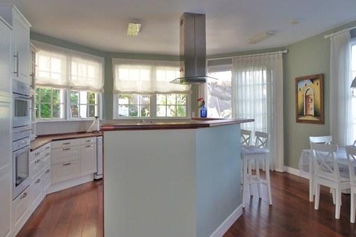 Large American kitchen in tasteful design