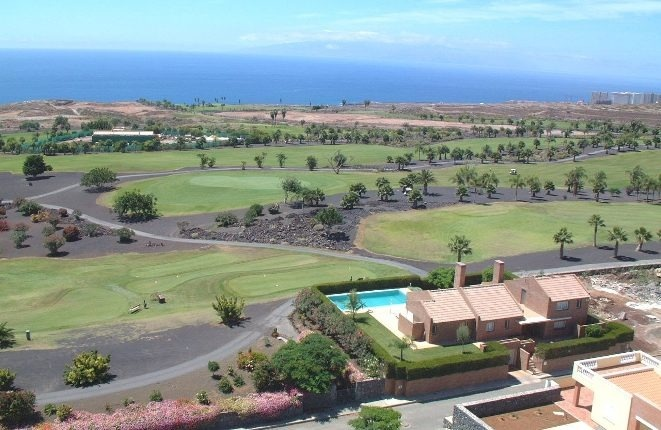 The villa from the air, with La Gomera in the background