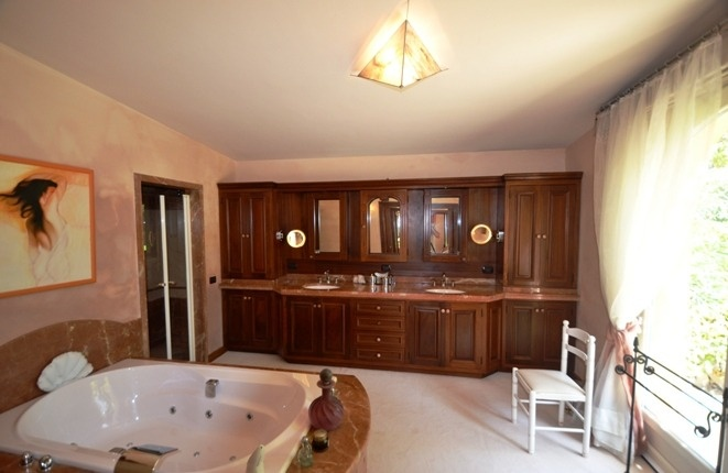 The elegant bathroom with Jacuzzi and pleasant length
