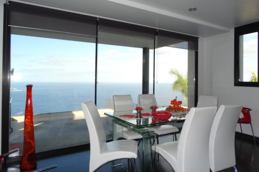 Dining room with panoramic sea view