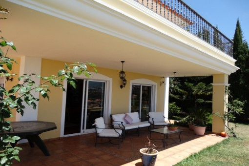 Sheltered terrace by the garden