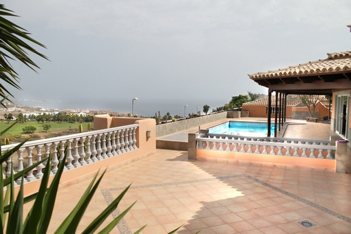 Large terrace with pool and sea views