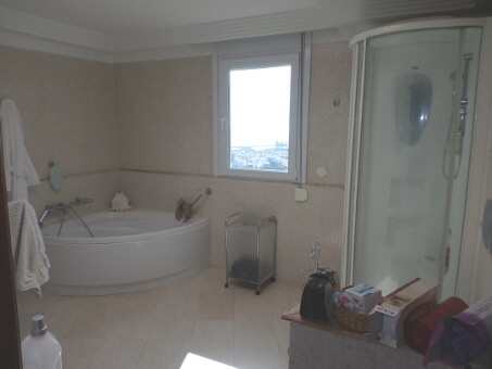Bathroom with round bathtub