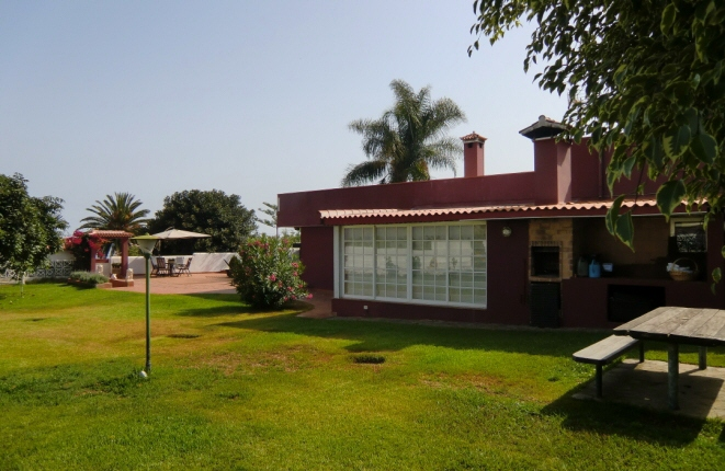 View of the villa and the terrace from the garden