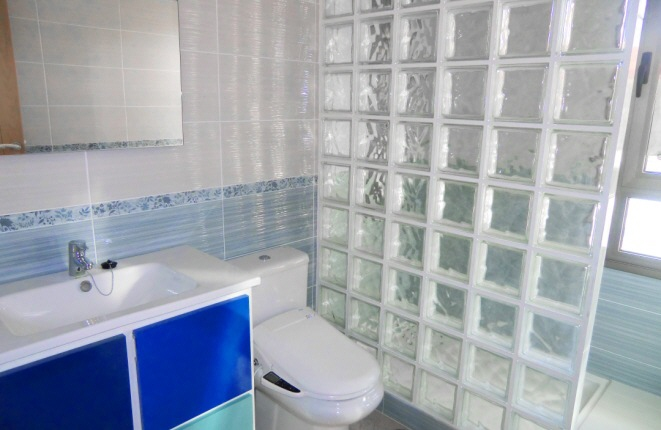 Another bathroom with a self-cleaning toilet and rain shower