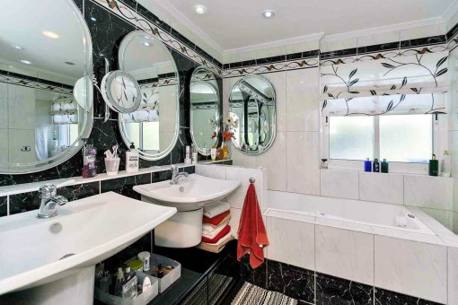 The elegant bathroom with pleasant length