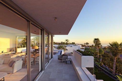 Balcony with sunset view