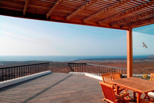 The large terrace with breath-taking views of the sea
