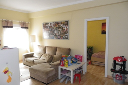 Bright living room of the upstairs apartment
