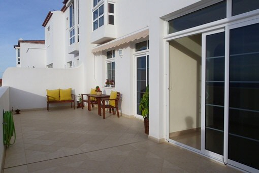 The spacious terrace with fantastic views