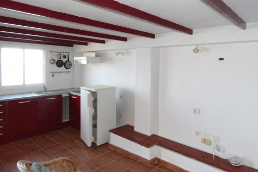 The kitchen with enough space for a dining area