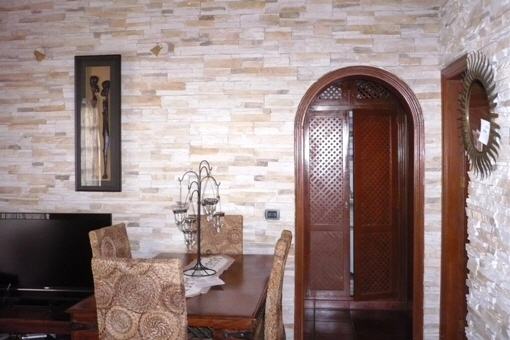 Stone wall in the living room