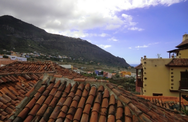 Wonderful view from the roof terrace of the mountainous landscape and the sea