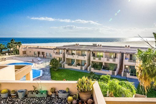 Modern apartment in Granadilla de Abona, frontline to La Tejita beach, including communal pool and garage