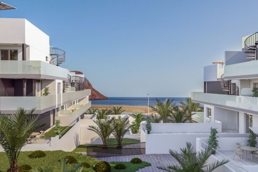 Luxury apartment building with 2 bedrooms, pool and underground parking near La Tejita beach
