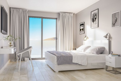 Bright double-bedroom with beautiful views