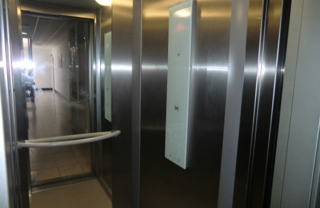 Residential complex with modern elevator
