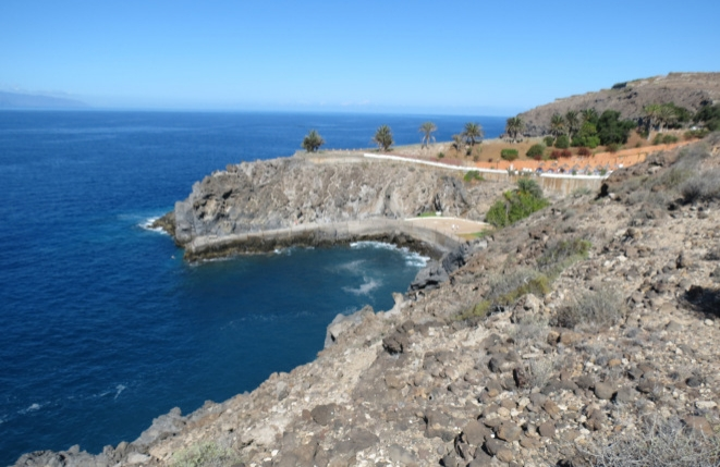 View along the sunny south-west coast of Tenerife