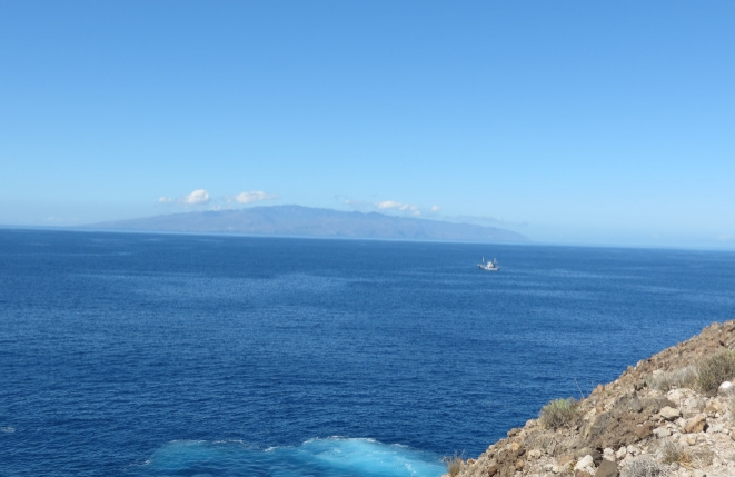 The beautiful blue Atlantic Ocean and the island of La Gomera in the background