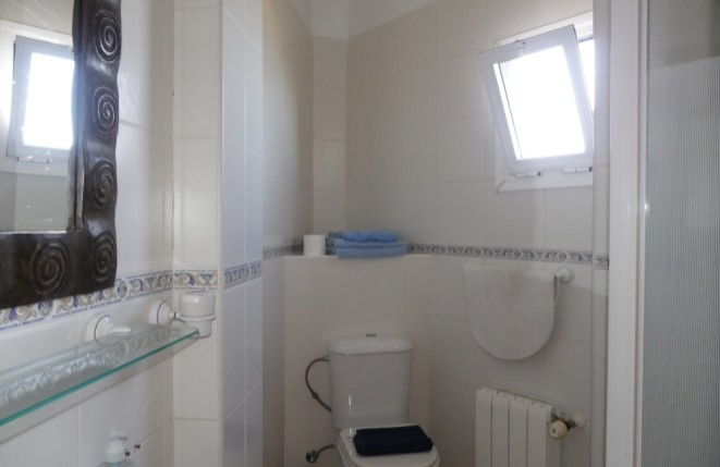 Bathroom with shower, gas heating and window