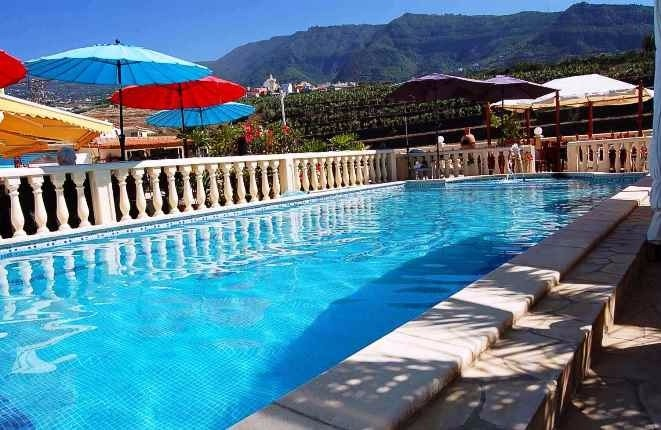 Pool area with mountain views