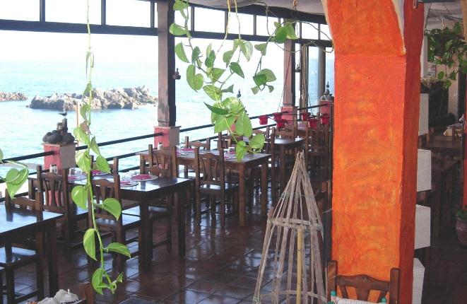 Stylish restaurant with sea views